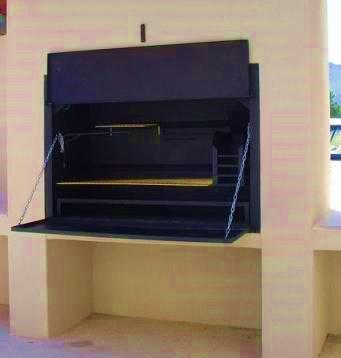 steel built-in braai with plastered enclosure