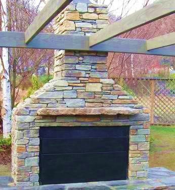 stone or cladded build in outdoor braai